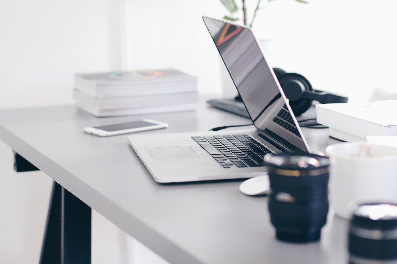 laptop, table, technology